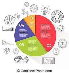 図, 金融, ビジネス, 財政, パイ, 円, infographic
