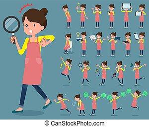 围裙, 芭蕾舞, 头发, 2, bun, 妈妈, 套间, 类型