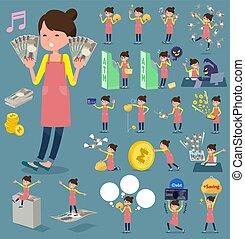 围裙, 钱, 芭蕾舞, 头发bun, 妈妈, 套间, 类型