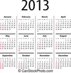 固体, カレンダー, 2013