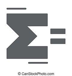 固体, ギリシャ語, graphics., 概念, シグマ, スタイル, glyph, 手紙, 背景, 概念, ベクトル, 数学, 白, 印, アイコン, モビール, summation, 網, design., アイコン