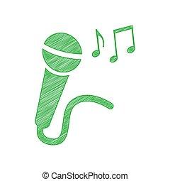 固体, 印, ノート。, アイコン, 白, 落書き, マイクロフォン, illustration., 輪郭, バックグラウンド。, 緑, 音楽