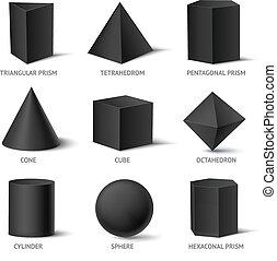 固体, 形, 幾何学的, セット