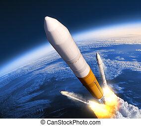 固体, boosters, ロケット, 分離