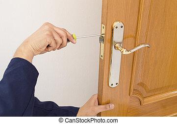 固定, 門, 木匠, 關閉, 鎖, 螺絲刀, 向上