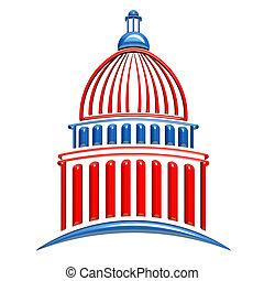 国会議事堂の 建物, 赤, と青