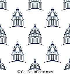 国会議事堂の 建物, seamless, パターン, バックグラウンド。, ベクトル, 写実的な 設計, イラスト