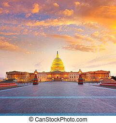 国会議事堂の 建物, washington d.c., 日没, 私達, 議会