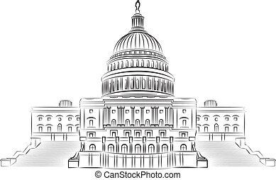 国会議事堂, アウトライン, illustr, ベクトル, 丘