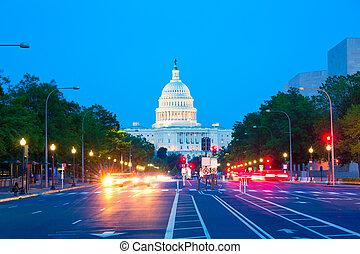 国会議事堂, ペンシルバニア, ワシントン, DC, 日没,  ave