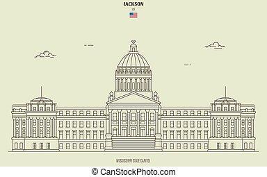 国会議事堂, ミシシッピ, ランドマーク, ジャクソン, 州, アイコン, usa.