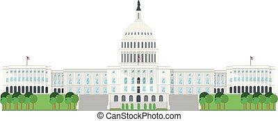 国会議事堂, 家, washington d.c., usa., 隔離された, 白, 背景, ベクトル, illustration.