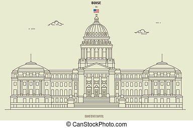 国会議事堂, boise, アイダホ, ランドマーク, 州, アイコン, usa.