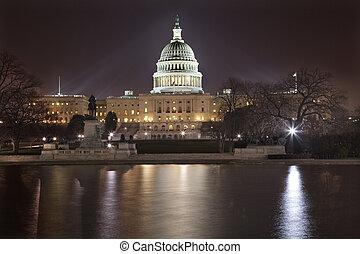 国会議事堂, washington d.c., 私達, 夜, 反射
