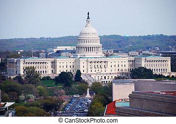 国会, 建物, 空中写真, washington d.c.