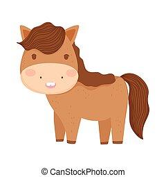 国内, かわいい, 漫画, 農場, 馬, 動物