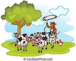 国内, 農場, 隔離された, 動物, グループ, カウボーイ