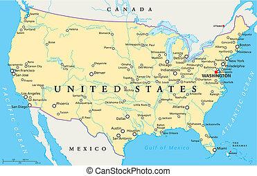 国家, 地图, 联合起来, 美国