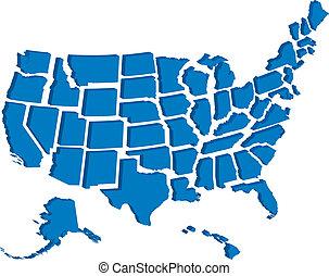 国家, 地图, 联合起来, 3d