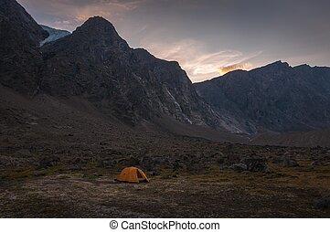 国民, キャンプ, 公園, nunavut, 景色, 基盤, auyuittuq, canada.