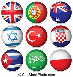 国民, セット, ボール, 旗