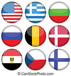 国民, セット, 旗, アイコン