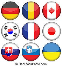 国民, セット, 旗, 3, アイコン