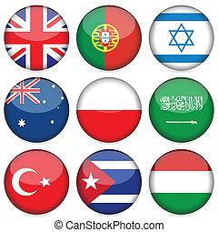 国民, セット, 旗, 4, アイコン