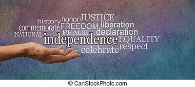 国民, 旗, 日, 独立