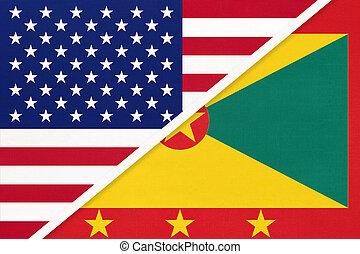 国民, countries., 関係, アメリカ, ∥対∥, グレナダ, 2, flag., ∥間に∥