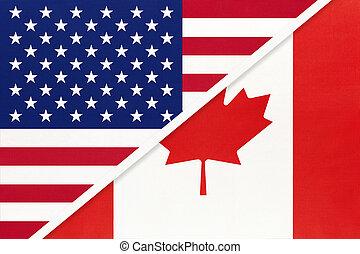 国民, countries., 関係, アメリカ, ∥対∥, 2, カナダ, flag., ∥間に∥