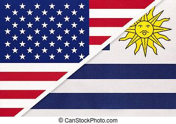 国民, countries., 関係, ウルグアイ, アメリカ, ∥対∥, 2, flag., ∥間に∥