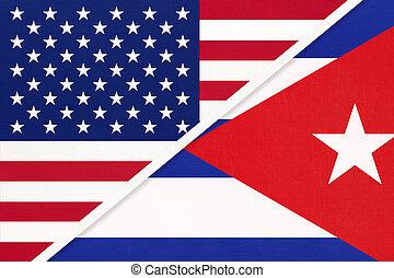 国民, countries., 関係, キューバ, アメリカ, ∥対∥, 2, flag., ∥間に∥