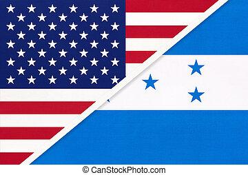 国民, countries., 関係, ホンジュラス, アメリカ, ∥対∥, 2, flag., ∥間に∥