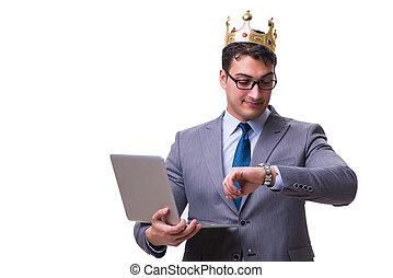 国王, 握住, 笔记本电脑, 隔离, 背景, 商人, 白色