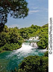 国立公園, 滝, krka, croatia, 風景