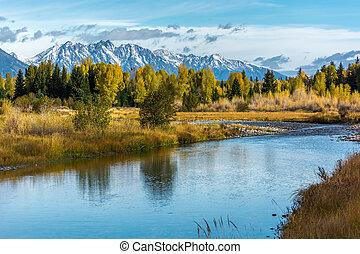 国立公園, 秋, 色, 壮大な teton