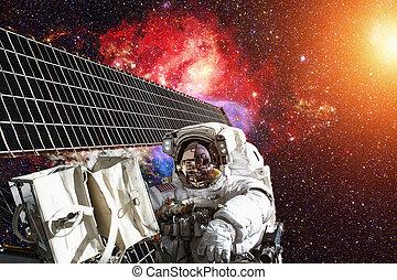 国际的空间站, 同时,, 宇航员, 在中, 外层空间, 结束, the, 行星, earth.