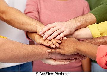 国际, 手, 组一起, 人们