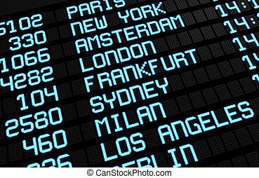 国際空港, 板, 目的地