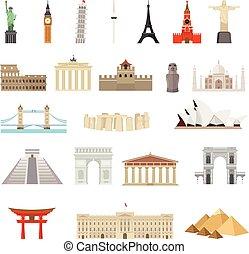国, の, 世界, ベクトル, ロゴ, デザイン, template., 建築, 記念碑, ∥あるいは∥, ランドマーク, icon.