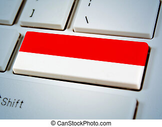 国, インドネシア, 連合, キーボード, button., 南東, 旗, アジア人