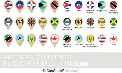 国, コレクション, アメリカ人, 2, 旗, 部分