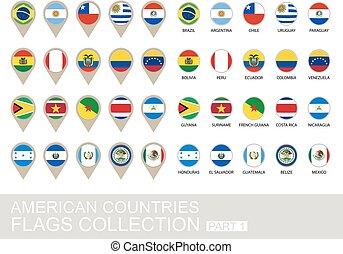 国, コレクション, 1, アメリカ人, 部分, 旗