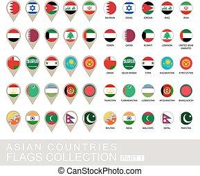 国, コレクション, 1, 部分, 旗, アジア人