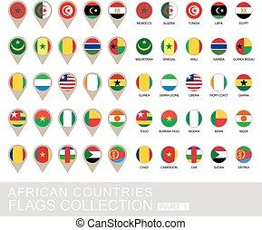 国, コレクション, 1, 部分, 旗, アフリカ