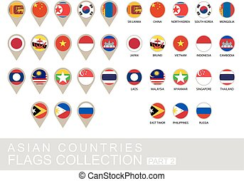 国, コレクション, 2, 旗, アジア人, 部分