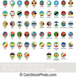 国, コレクション, 2, 旗, アフリカ, 部分