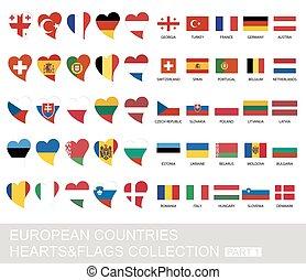 国, セット, 1, 部分, 心, 旗, ヨーロッパ