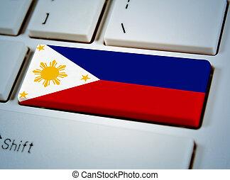 国, フィリピン, 連合, キーボード, button., 南東, 旗, アジア人
